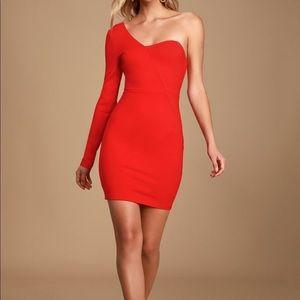 Lulus Alsandair Red One-Shoulder Bodycon Dress